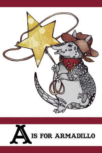 A is for Armadillo - Buckaroo Style Nursery Illustration Poster