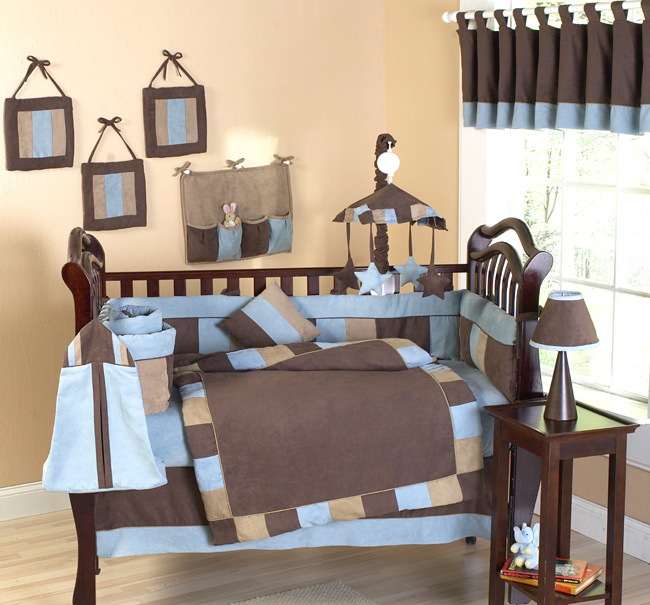 Cowboy baby crib bedding soho blue and brown modern for Baby blue and brown bedroom ideas
