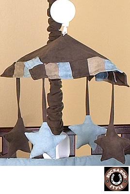 soho blue and brown modern cowboy baby musical crib mobile